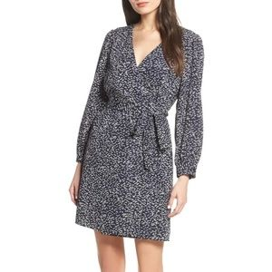 19 Cooper Blue Printed Wrap Dress Size S